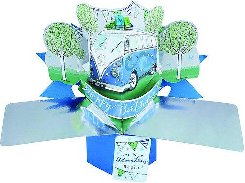 VW Camper Van Pop Up Greeting Card