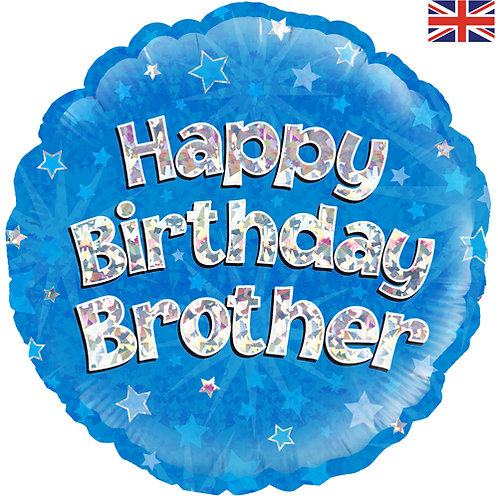 """18"""" Blue Happy Birthday Brother Balloon - Helium Filled"""