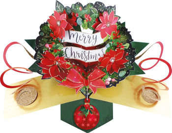 3D Pop Up Christmas Greeting Card With Wreath