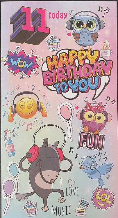 11th Birthday Greeting Card