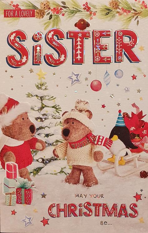 Sister Christmas Greeting Card - Barley Bear