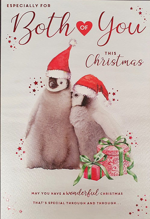 For Both Of You Christmas Greeting Card With Penguins