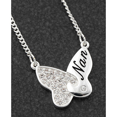 Equilibrium Butterfly Silver Plated  Nan Necklace