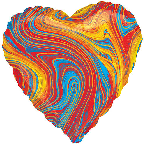 "18"" Marblez Colourful Heart -  Anagram Balloon - Helium Filled"