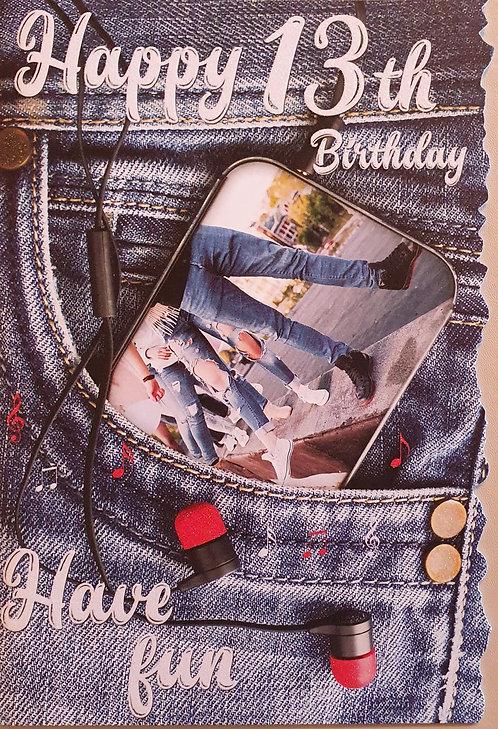 13th Male Birthday Card
