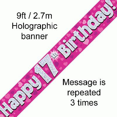 Pink 17th Happy Birthday Party Banner