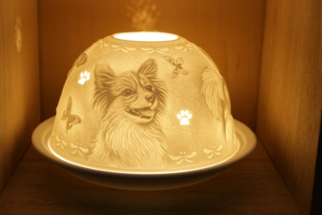 Nordic Light Candle Shade With Papillon Dog