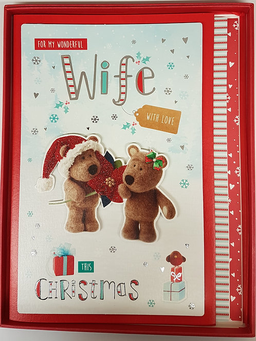 Wife Boxed Christmas Greeting Card Barley Bear
