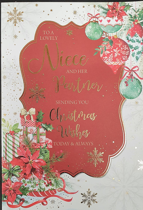 Niece and Partner Christmas Greeting Card