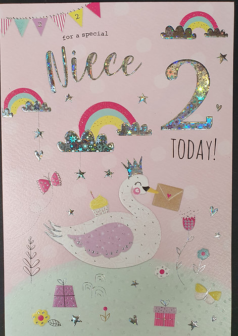 Niece 2nd Birthday Greeting Card Front
