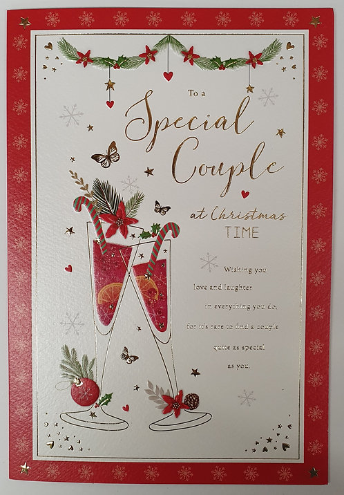 For A Special Couple Christmas Greeting Card Glasses