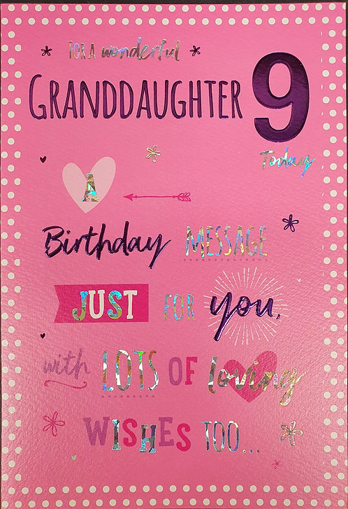 Granddaughter 9th Birthday Greeting Card