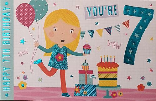 7th Female Birthday Card