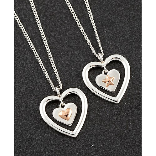 Equilibrium Two Tone Heart / Star Necklace