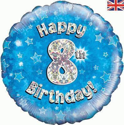 "18"" Blue 8th Birthday Balloon - Helium Filled"