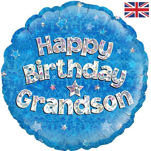 "18"" Blue Happy Birthday Grandson Balloon - Helium Filled"