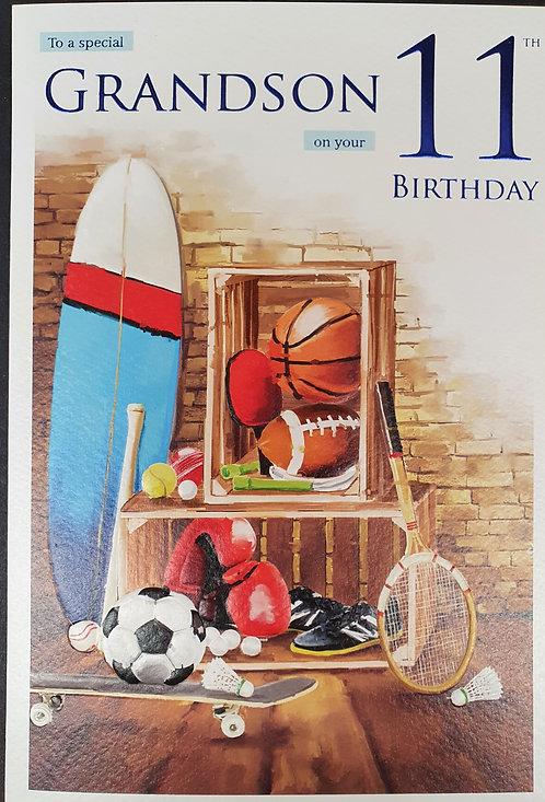 Grandson 11th Birthday Greeting Card