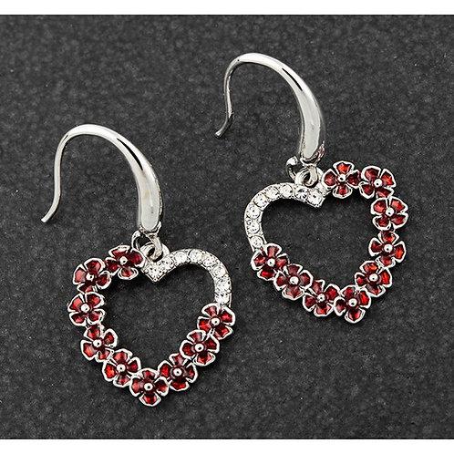 Equilibrium Poppy Diamante Heart Earrings