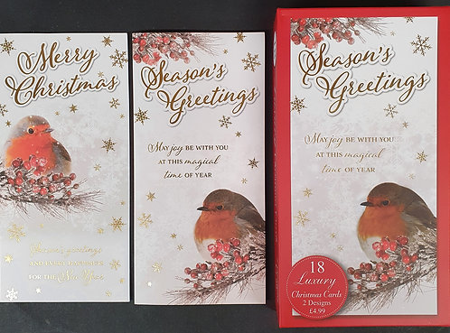 Box of Luxury Christmas Cards With Robins