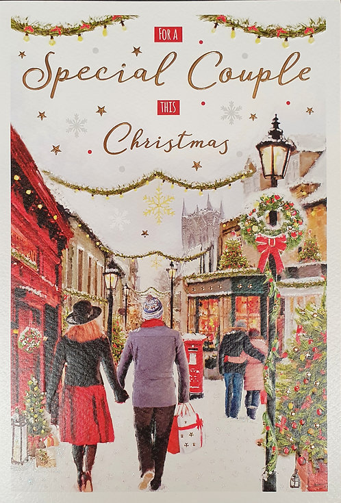 For A Special Couple Christmas Greeting Card Shopping Scene