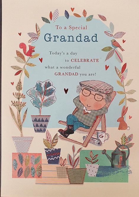 Grandad Birthday Greeting Card With Garden Deckchair