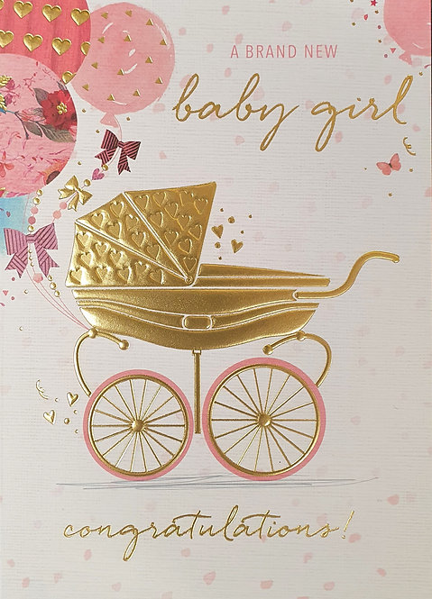Birth Of Baby Girl Greeting Card With Pram