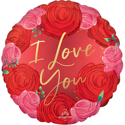 """18"""" Valentine's Day Circled In Roses Satin Balloon - Helium Filled"""