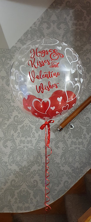 "24"" Personalised Hearts Deco Bubble Balloon - Helium Filled"