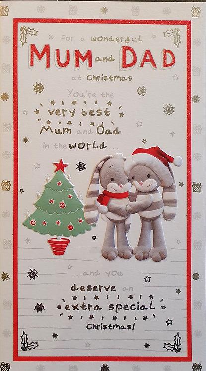 Mm & Dad Christmas Greeting Card - Hun Bun