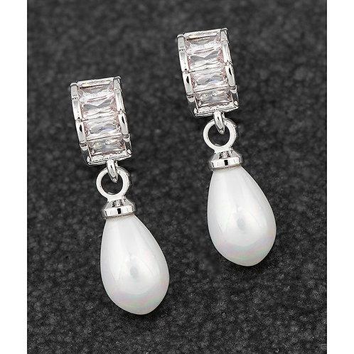 Teardrop Pearl Baguette Platinum Plated Earrings