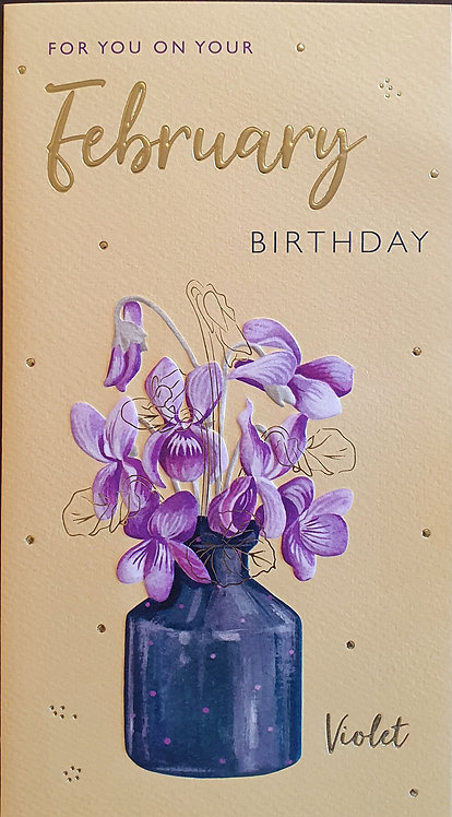 February Birthday Greeting Card - Violet