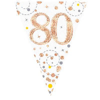 Party Bunting 80th Birthday White & Rose Gold Holographic