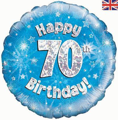 "18"" Blue 70th Birthday Balloon - Helium Filled"