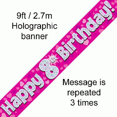Pink 8th Happy Birthday Party Banner