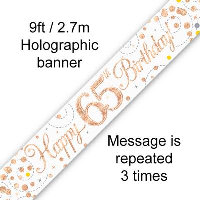 Rose Gold 65th Happy Birthday Party Banner