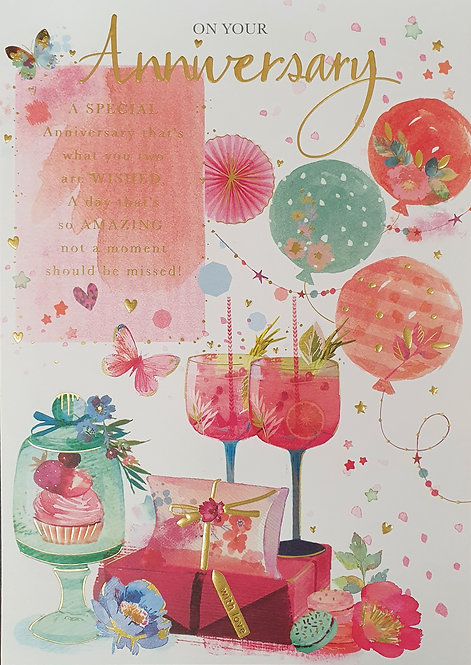 On Your Anniversary Greeting Card With Cocktails
