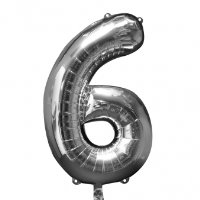 large silver number 6 foil helium balloon
