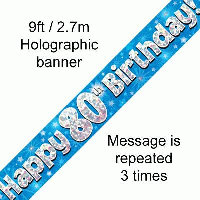 Blue 80th Happy Birthday Party Banner