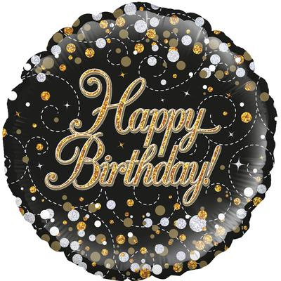"18"" Black & Gold Happy Birthday Balloon - Helium Filled"