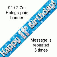 Blue 11th Happy Birthday Party Banner