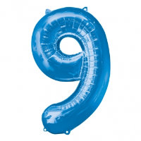 large blue number 9 foil helium balloon
