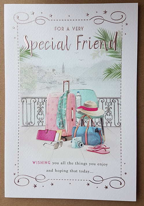 Female Birthday Greeting Card - Friend, Suitcase
