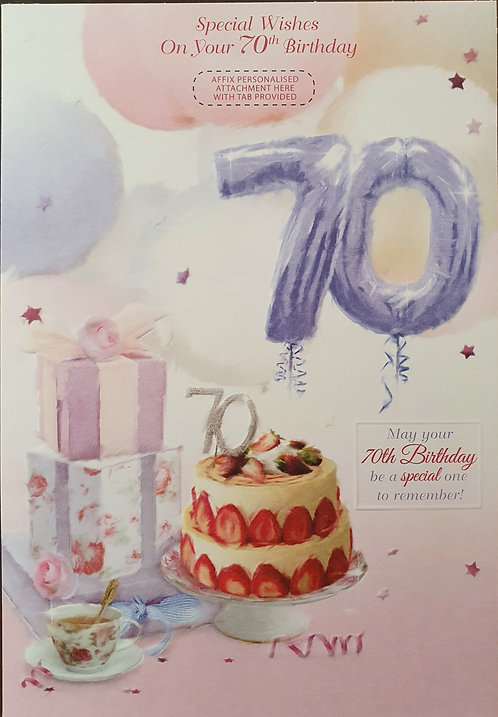 Female 70 Birthday Greeting Card - Personalise