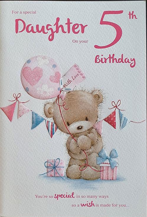 Daughter 5th Birthday Card