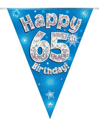Blue Happy 65th Birthday Bunting