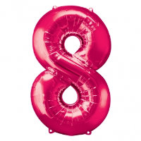 large pink number 8 foil helium balloon