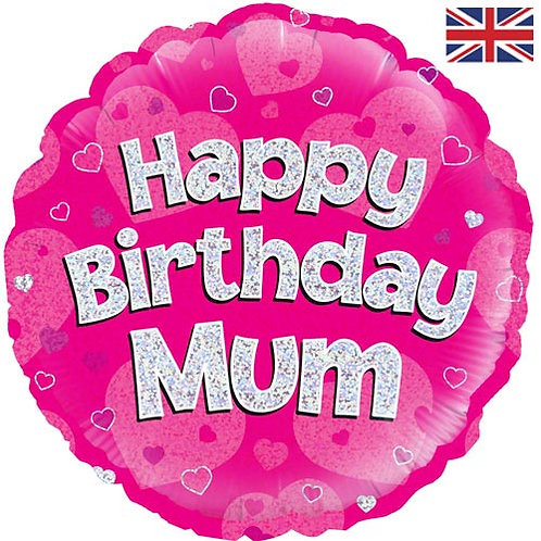 "18"" Pink Happy Birthday Mum Balloon - Helium Filled"