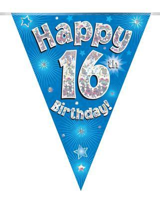 Blue Happy 16th Birthday Bunting