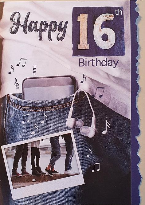 16th Male Birthday Card