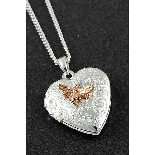 Equilibrium Two Tone Heart Bee Locket